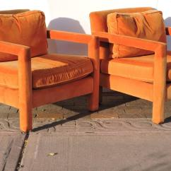 Orange Parsons Chair High Leg Recliner Chairs Upholstered Lounge In The Style Of