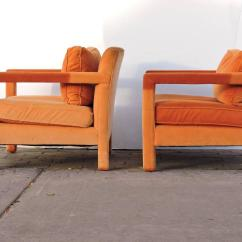 Orange Parsons Chair Salon Chairs For Sale Cheap Upholstered Lounge In The Style Of