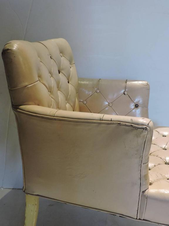 white leather slipper chair eames style 1940s regency pink button tufted for sale at 1stdibs