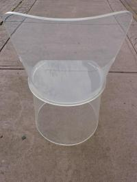 Lucite Tall Back Barrel Chair For Sale at 1stdibs
