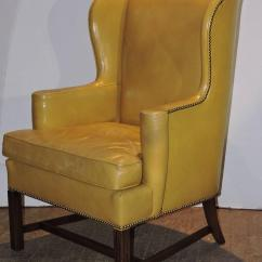 Yellow Chairs For Sale Dark Brown Leather Chair Chippendale Style Mustard Wingback