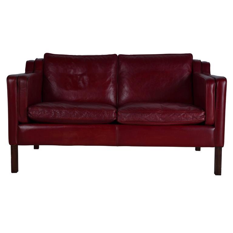 borge mogensen sofa model 2209 embrace left arm facing corner red leather at 1stdibs