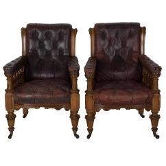 Wooden Library Chair Polyester Covers For Sale Pair Of Oak And Leather Chairs At 1stdibs