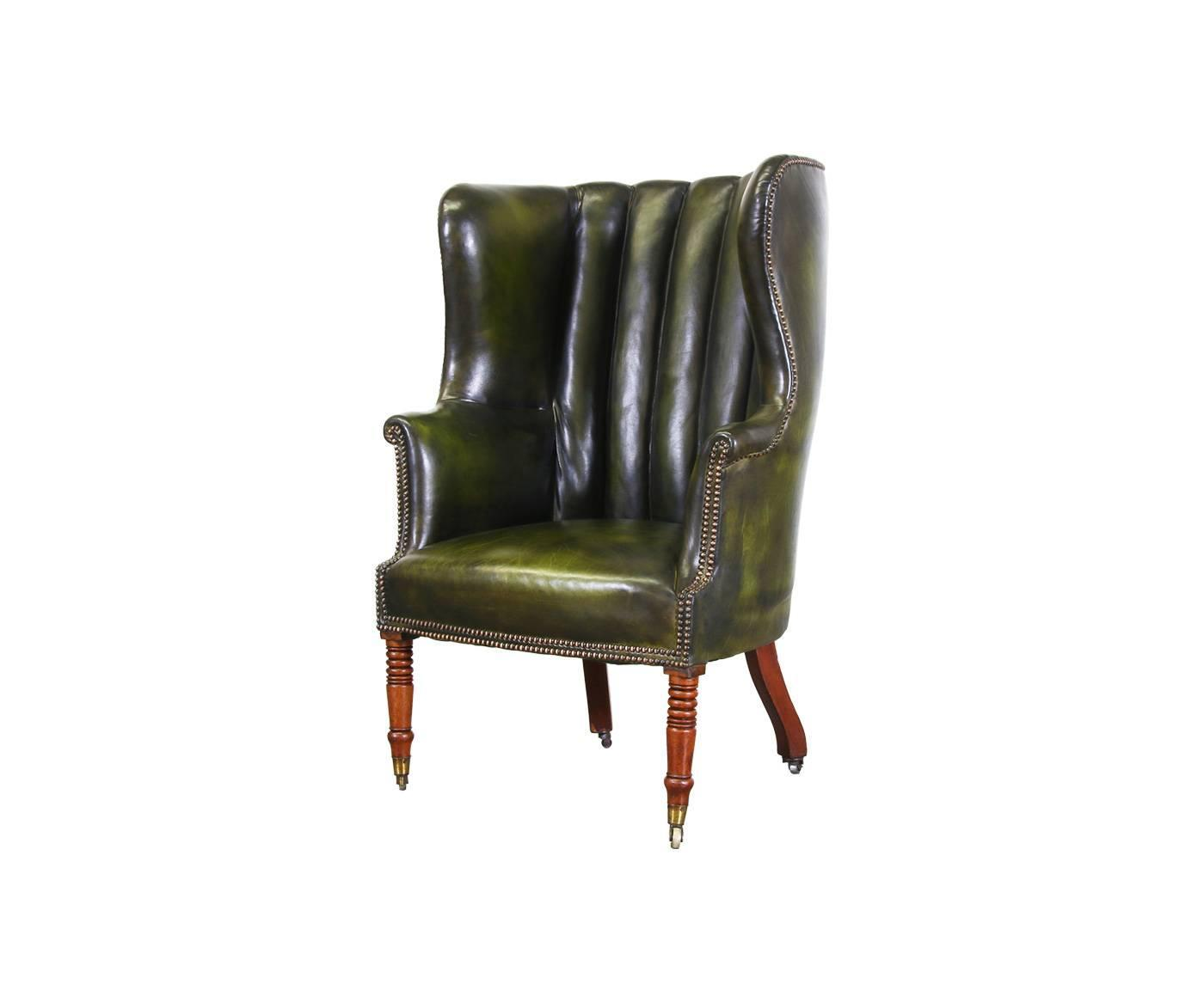 green high chair ghost stool vintage leather back wing at 1stdibs