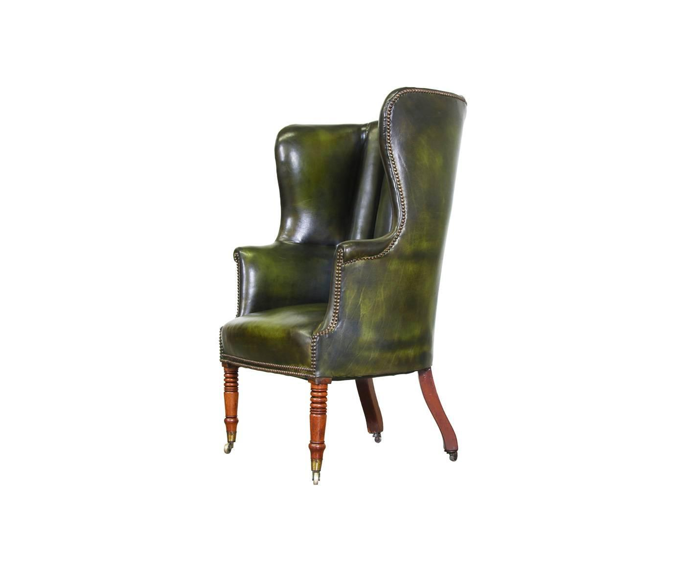 green high chair arsenal inflatable vintage leather back wing at 1stdibs