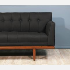 Percival Lafer Sofa Bed Loveseat Size Mid-century Tufted Black Leather At 1stdibs
