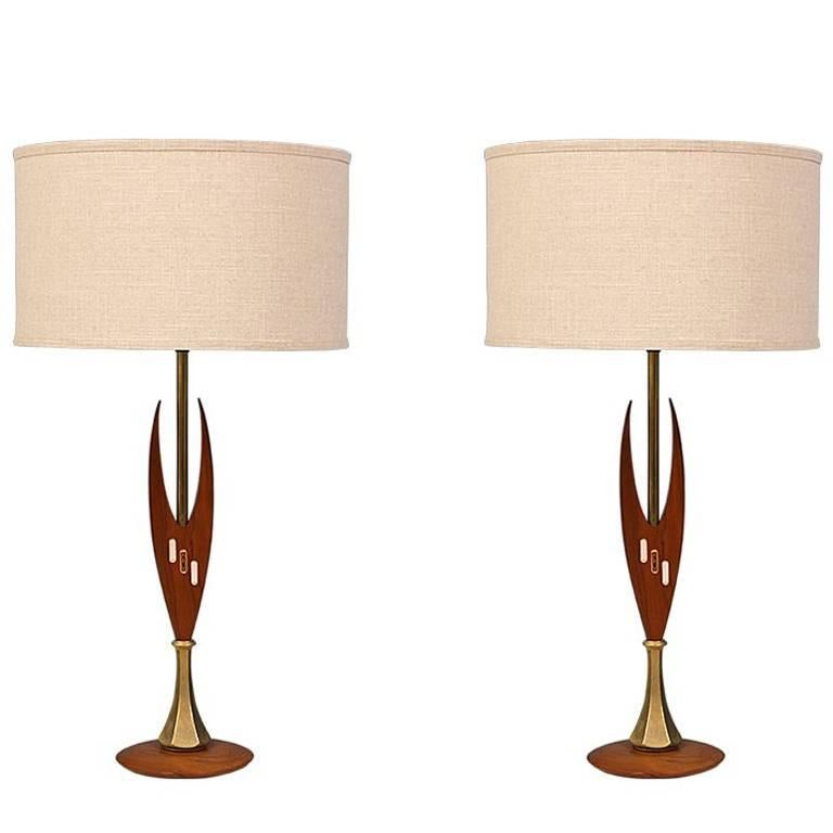 Midcentury Sculpted Walnut and Inlaid Tile Table Lamps For