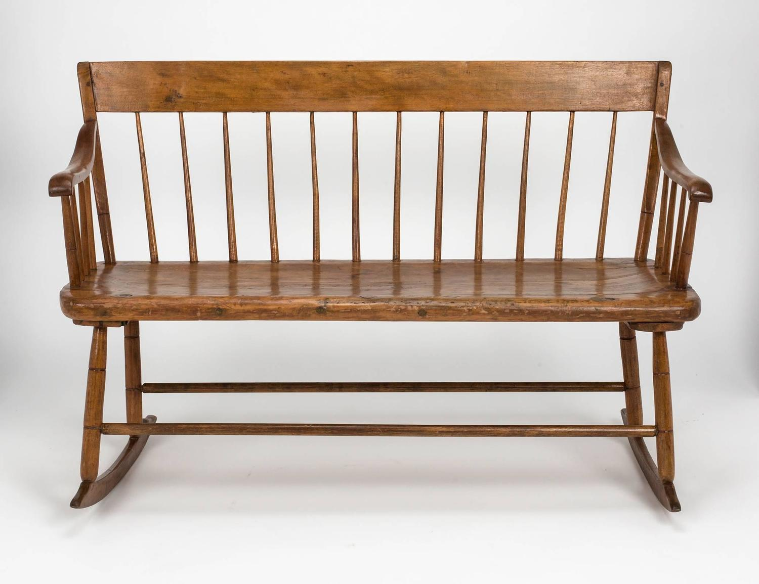 rocking chair height counter chairs with arms early american primitive bench at 1stdibs