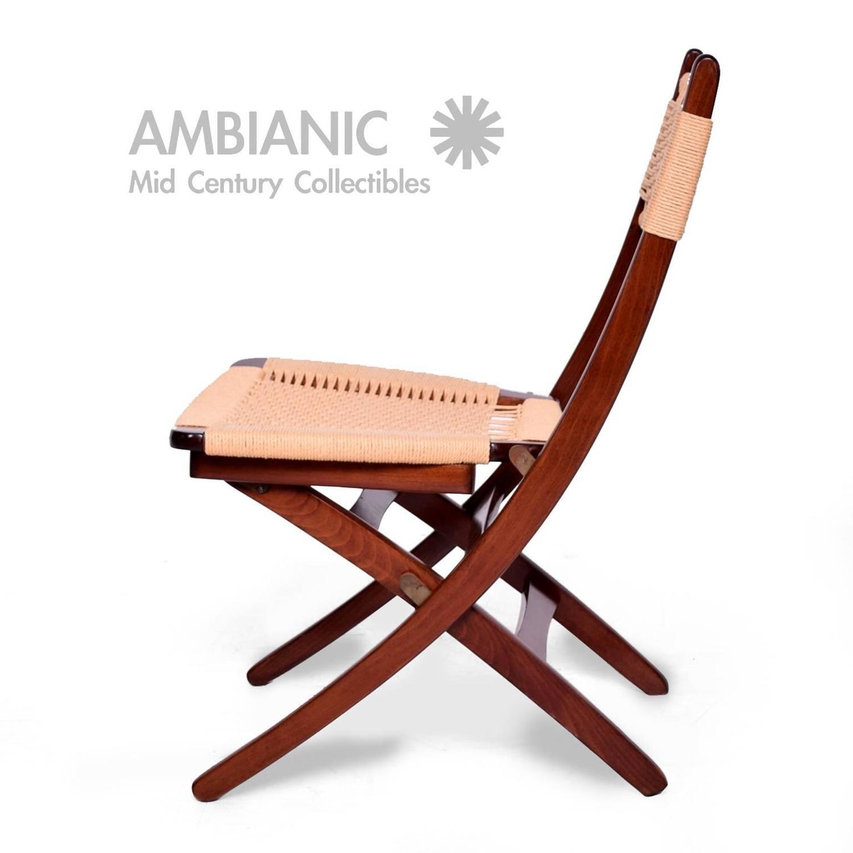 yugoslavian folding chair papasan lounge mid century danish modern rope chairs wegner style