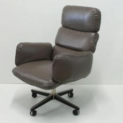 Modern Grey Leather Office Chair Cheap Yellow Covers Otto Zapf For Knoll International Executive Desk Mid Century Sale