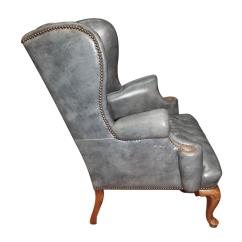 Wingback Chair For Sale Folding Comfortable Vintage Blue Gray Leather Occasional With