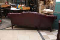 1980s Tufted Burgundy Chesterfield Leather Sofa and Chair ...