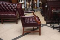 1980s Tufted Burgundy Chesterfield Leather Sofa and Chair