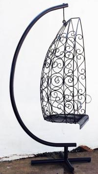 Mid-Century Hanging Wrought Iron Pendant Chair at 1stdibs