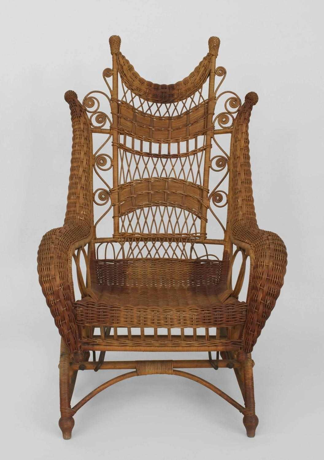 high back wicker chair cushions hire covers for weddings edinburgh ornate platform rocking sale at 1stdibs