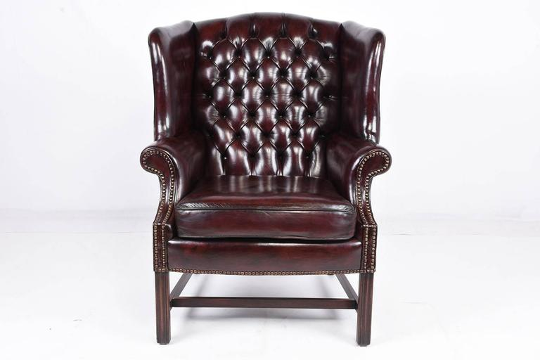 wingback chair for sale disability furniture chairs chesterfield tufted leather wing back and ottoman at 1stdibs