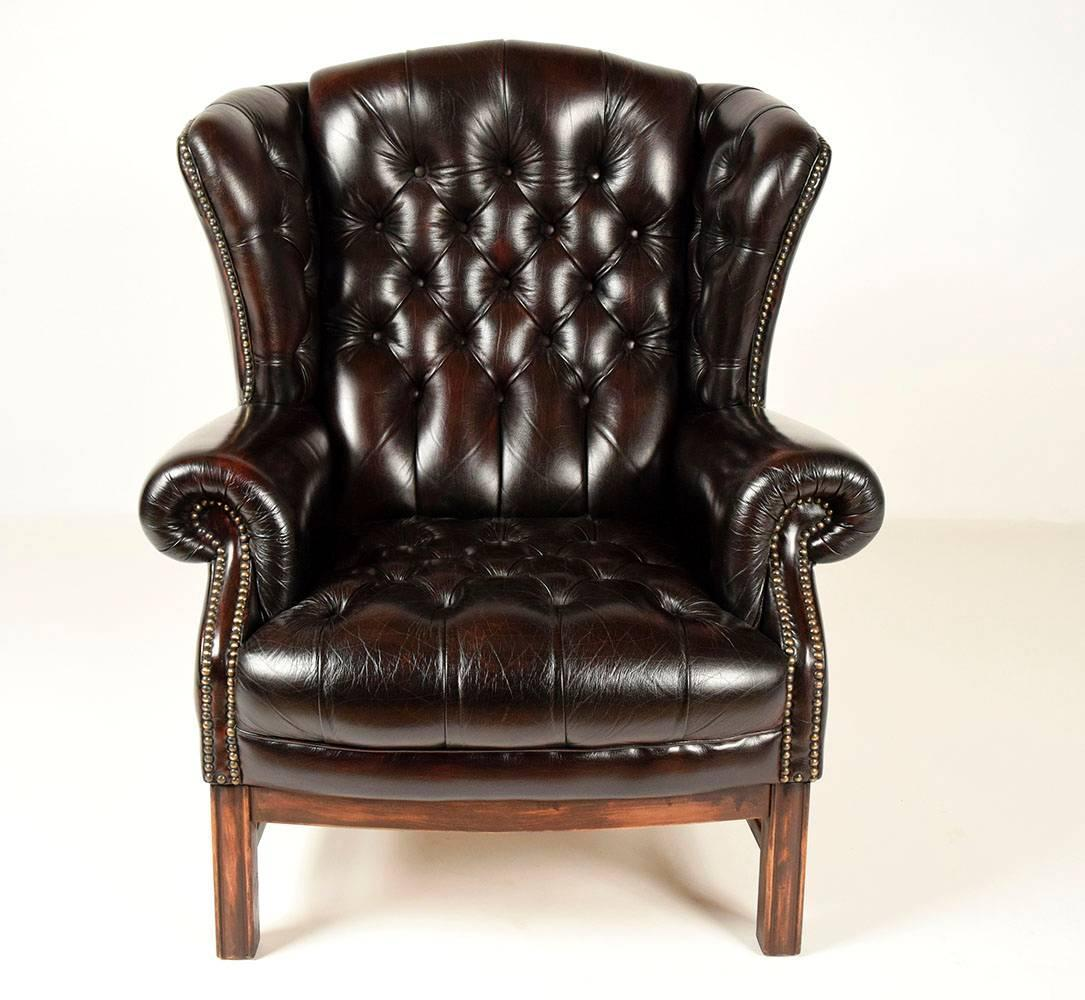 Tufted Leather Chair Sinlgle Vintage Tufted Leather Wingback Chair At 1stdibs