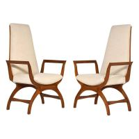 Pair of Mid-Century Modern-Style Tall Back Lounge Chairs ...