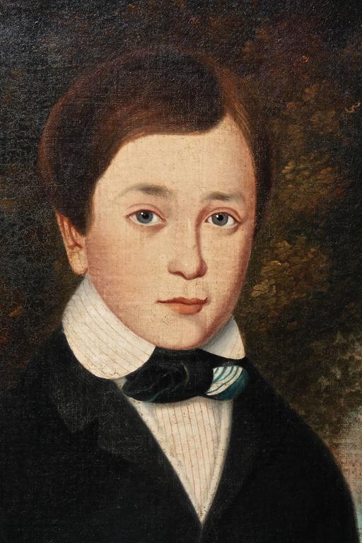 American Folk Portrait Of A Boy Attributed To Orlando
