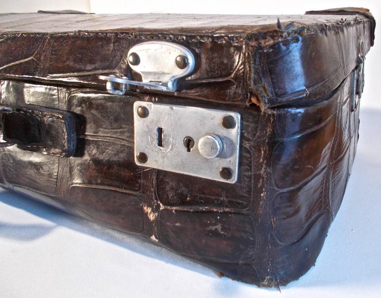 Jan Kiepura S Deco Period Brown Black Alligator Suit Case