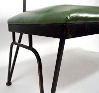 Mid-Century Bench Wrought Iron Frame Vinyl Upholstery For ...