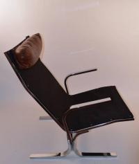 Chrome Lounge Chair and Ottoman For Sale at 1stdibs