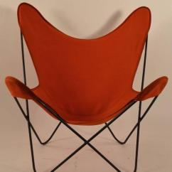 Canvas Sling Chair Dxracer Gaming Uk Hardoy Butterfly With Original Orange Seat At 1stdibs Mid Century Modern For Sale