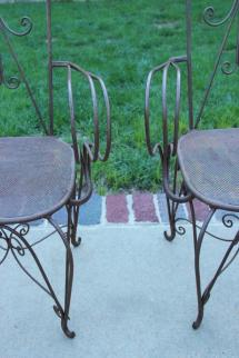 French Art Deco Pair Of High Iron Armchairs Circa