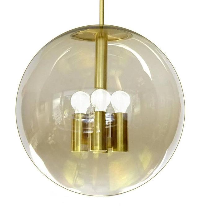 Large Mid Century Modern Peil And Putzler Chandelier 70s Glass Globe Brass For