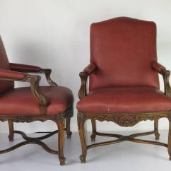 Red Chairs For Sale Desk Chair Girls Room Pair Embossed Leather Arm At 1stdibs