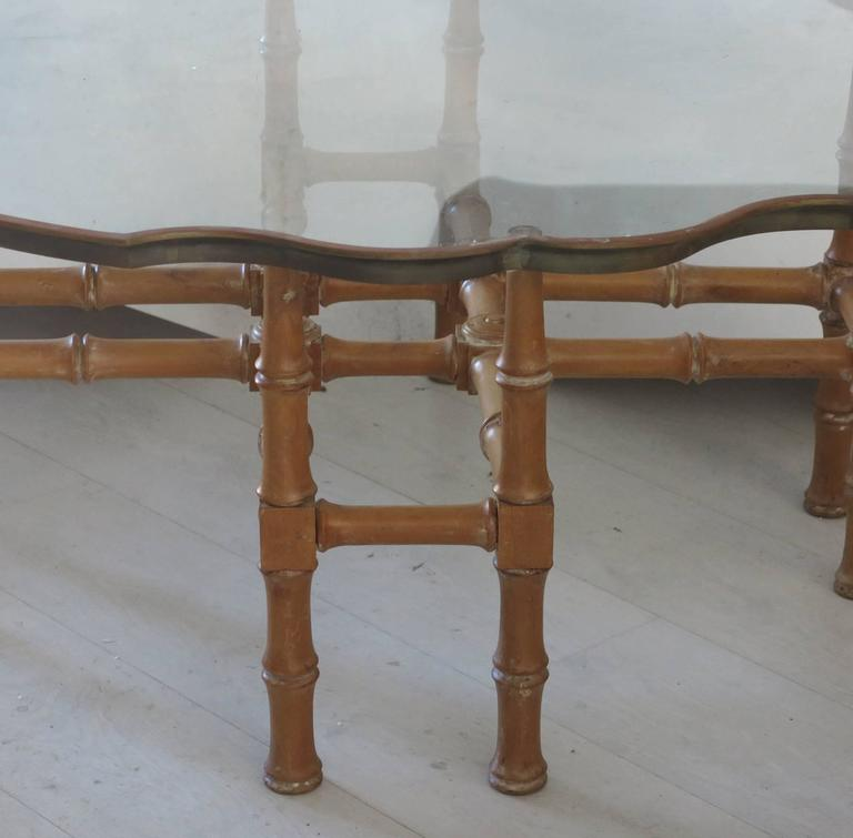Vintage Faux Bamboo Coffee Table with Ornate Brass and