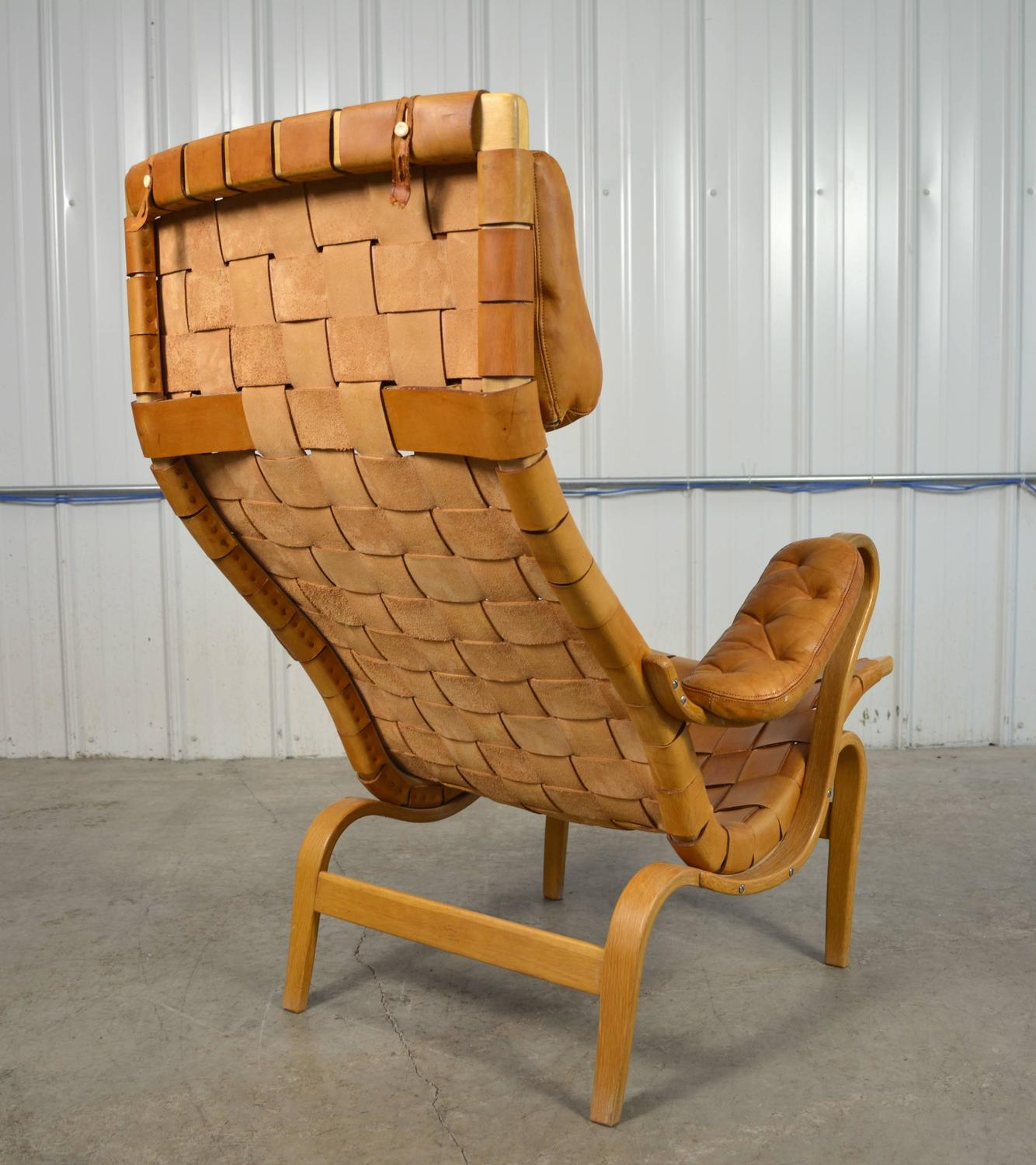 Woven Leather Chair Bruno Mathsson Pernilla Woven Leather Chair At 1stdibs