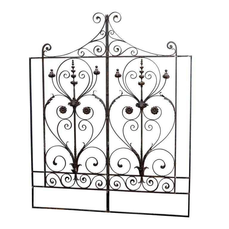 Pair of 19th Century French Forged Iron Gates, later