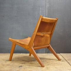 Lounge Chair Leather Blue High Back Hunting By Uno And Osten Kristiansson In Oak Scandinavian Modern Sling For Sale