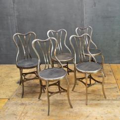 Industrial Bistro Chairs Swivel Chair Comfortable 1920s Vintage Uhl Metal Dining Cafe Five At Victorian For Sale