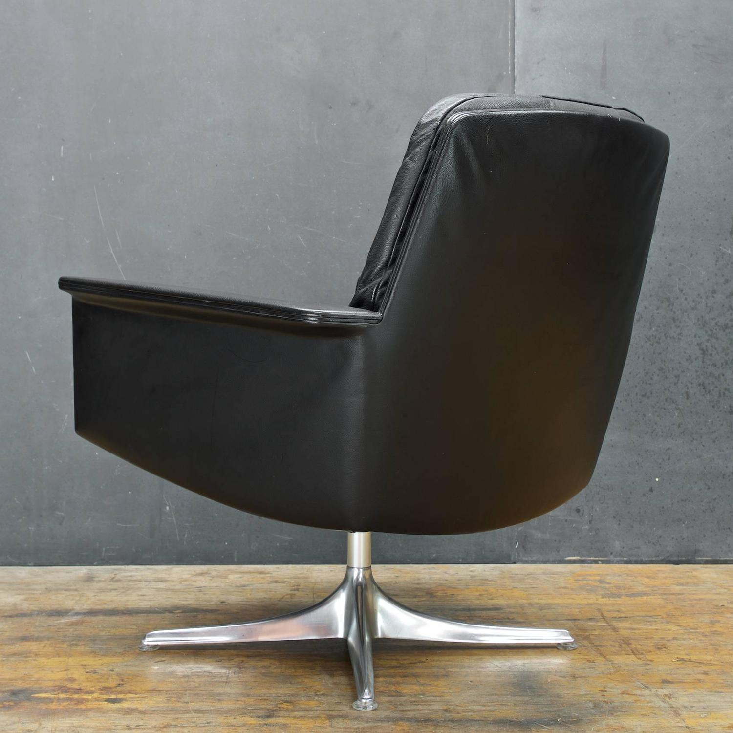 black leather swivel lounge chair folding rocking vintage by horst bruning for cor