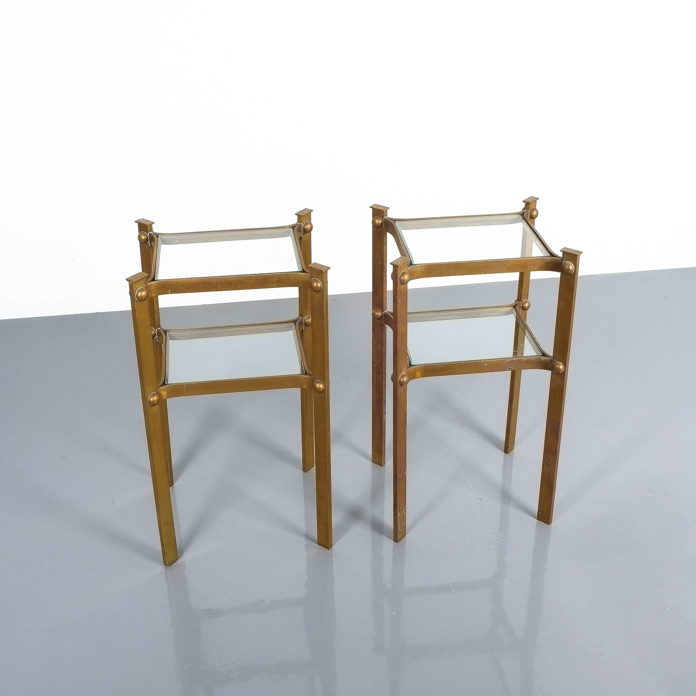 Cute Brass Side Tables with Glass Tops, France, 1940 For