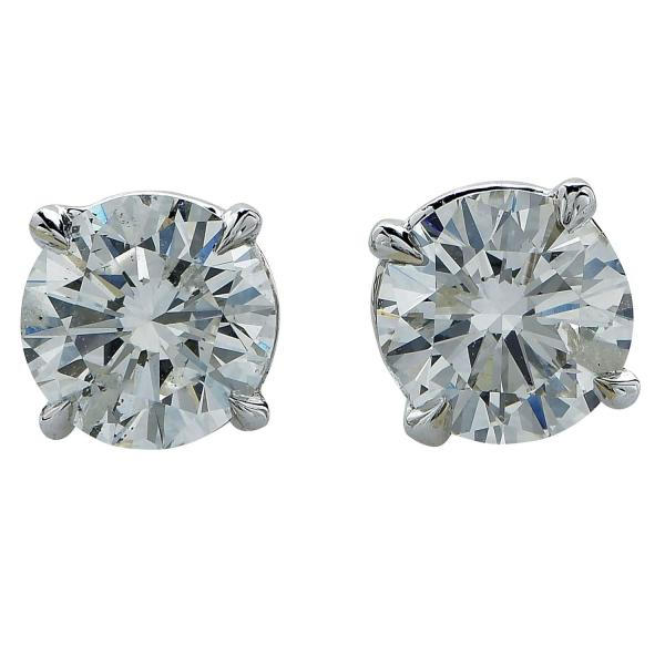 1.87 Carat Diamond Solitaire Stud Earrings 1stdibs
