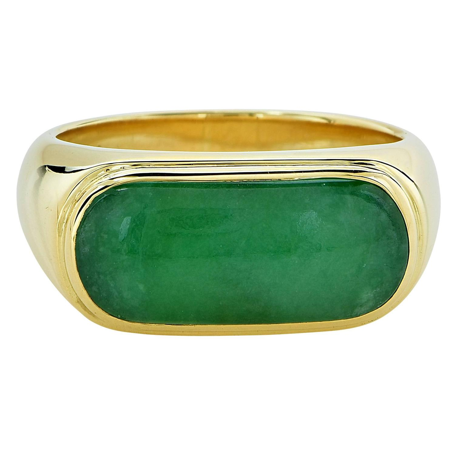 Beautiful Jade Gold Ring For Sale at 1stdibs