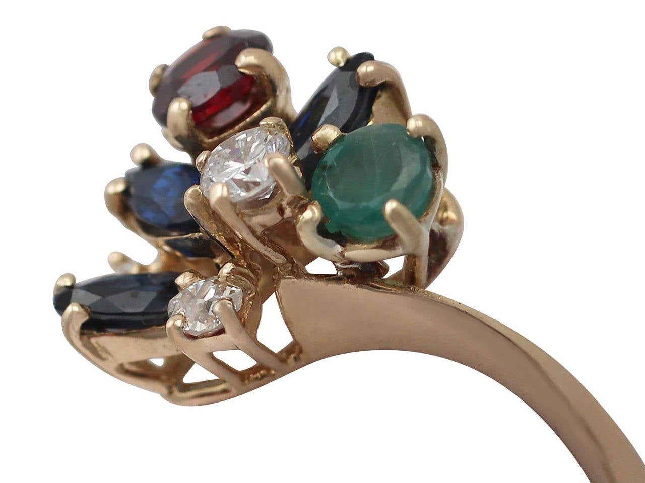 Multi Gemstone And Diamond Yellow Gold Cocktail Ring For