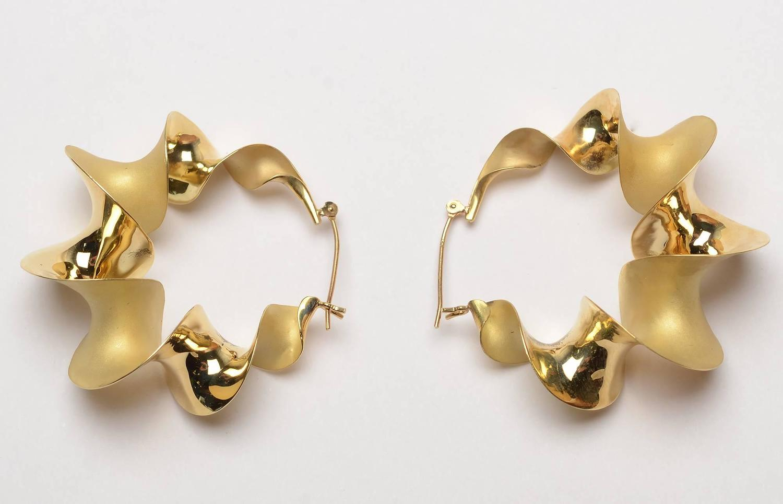 Michael Good Gold Twist Hoop Earrings at 1stdibs
