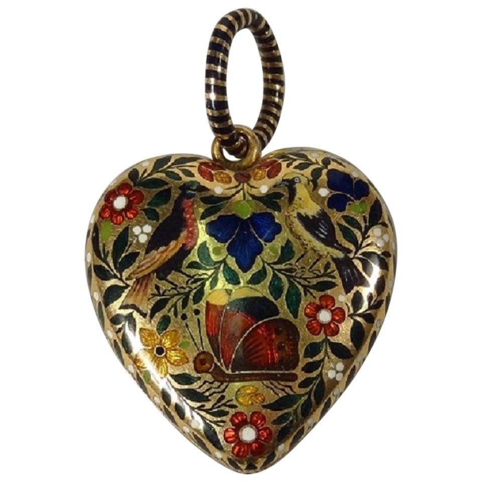 French Napoleonic Era Enamel Gold Heart Locket At 1stdibs