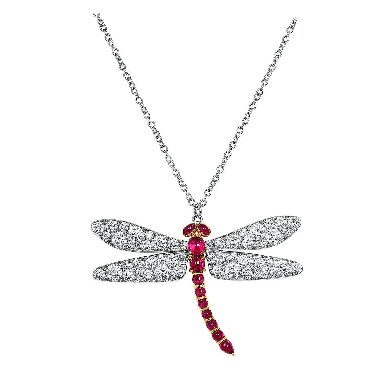 Diamond Ruby Gold Platinum Dragonfly Pendant at 1stdibs