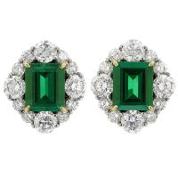 Emerald Diamond Earrings Colombian Emerald Diamond ...