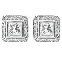 1.01 Carat Princess Cut Diamond Platinum Stud Earrings For ...