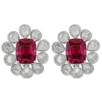 14.69 Carat Pink Spinel Diamond Gold Cluster Earrings at ...