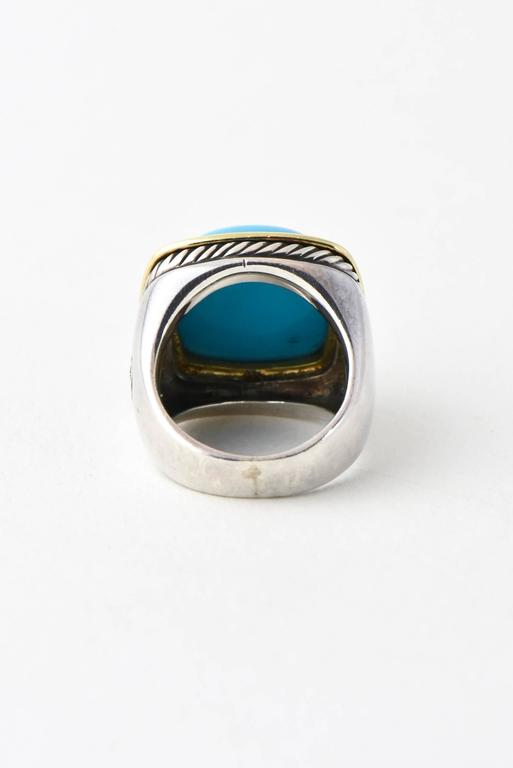 David Yurman Turquoise Silver Gold Albion Ring At 1stdibs