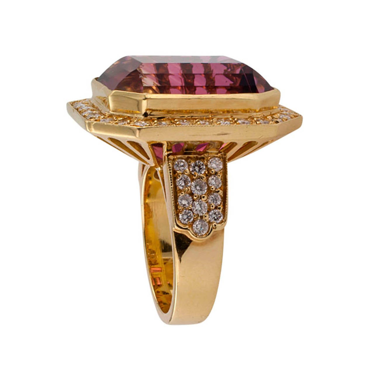 Bi Color Tourmaline Diamond Ring at 1stdibs