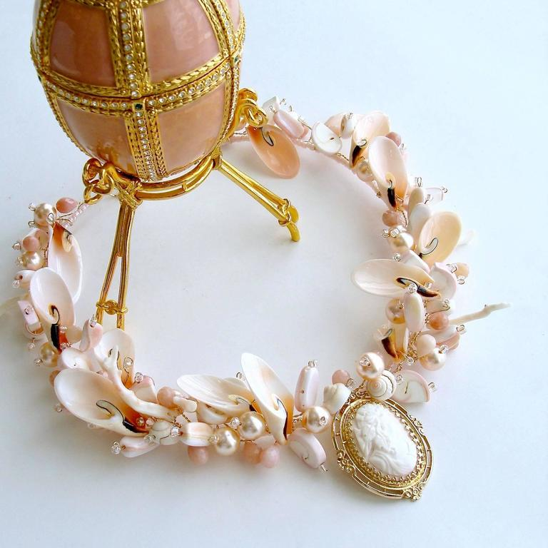 Angelskin Coral Gold Carved Cameo Shell Necklace At 1stdibs
