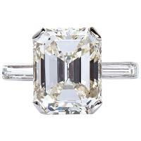 5.11 Carat Emerald Cut Diamond Platinum Engagement Ring at ...